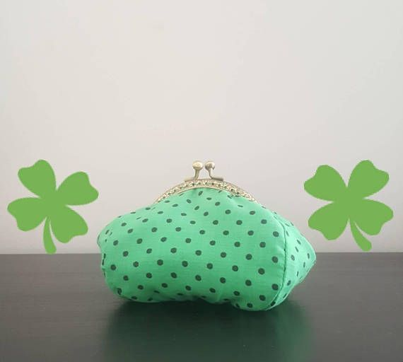 Hey, I found this really awesome Etsy listing at https://www.etsy.com/listing/597320017/handmade-green-small-coin-purse-bag-dots