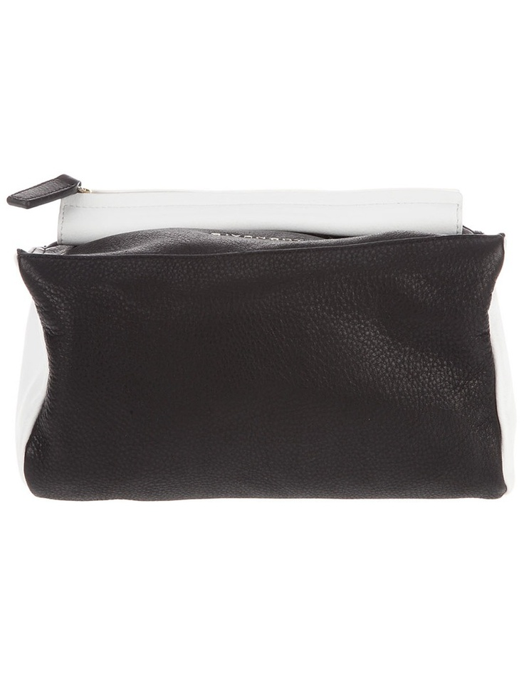 Black leather 'Mini Pandora' clutch with white side panels, a rolled white leathertop handle and a top xip fastening. The bag features a silver tone metallic design logo.