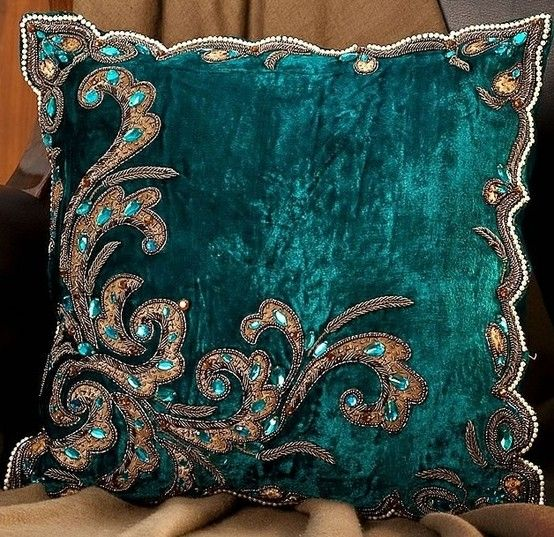 peacock green velvet luxury cushion