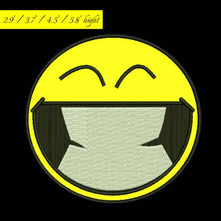Smiley applique embroidery design, laughing emoji machine pattern emoticon digital download by GretaembroideryShop on Etsy