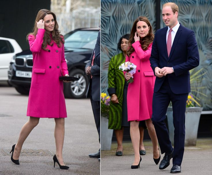 Kate Middleton and Prince William in London For her last royal engagement before she gives birth to baby number 2, Kate Middleton stepped out in a bright pink Mulberry coat as she visited the Stephen Lawrence Center in South London on March 27, 2015. Kate, who is due to give birth next month, accompanied Prince William as they toured the building named after teenager Stephen Lawrence, who was brutally murdered in a racially motivated attack in 1993.