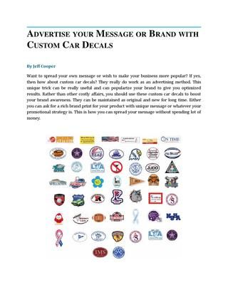 Publish Your Message Or Brand With Custom Car Decals Car Magnets - Custom car magnets decals