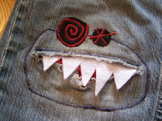 Patch jeans into monster jeans! So cool! Too bad my boys are too big, but maybe my friends will like the idea?! @Jenny Thompson
