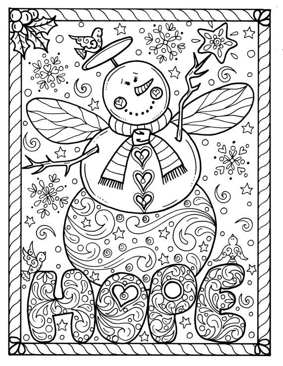 Snow Angel Instant download Christmas Coloring page
