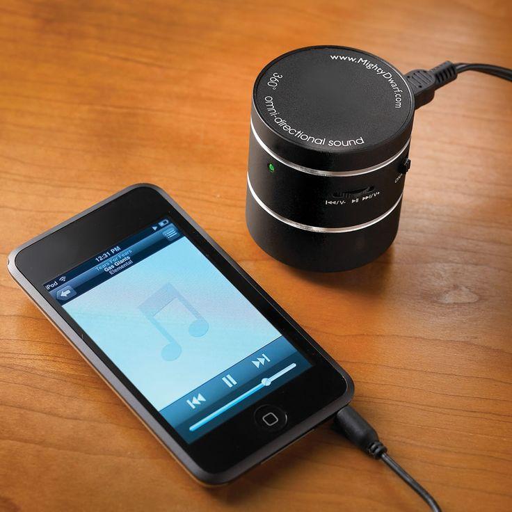 The Room Filling Travel Speaker - Hammacher Schlemmer  The Authentic MightyDwarf® 5 Watt Speaker in black color