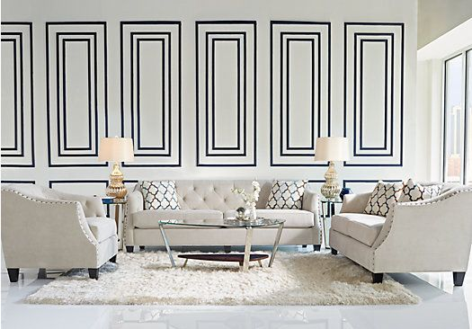picture of Sofia Vergara Monaco Court Oyster 7 Pc Living Room from Living Room Sets Furniture