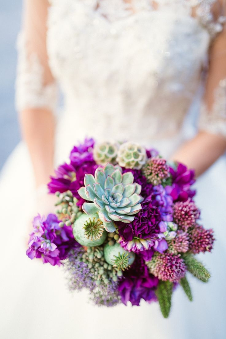 Gorgeous purple bouquet with succulents! Photographer: Hunter Ryan Photo, Floral Design: Isn't She Lovely Florals, via: http://theeverylastdetail.com/purple-chic-nature-inspired-wedding/