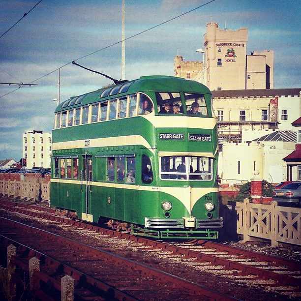 The famous 1950's green trams which run from Feetwood to Blackpool