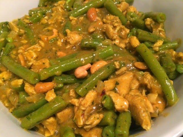 Sperziebonen in currykokossaus met cashewnoten