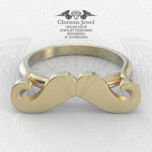 Four ring sizes 3D STL files Mustache Ring RWS001000070