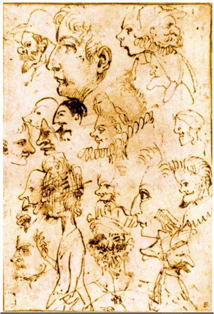Annibale Carracci, hoja de caricaturas, c.1595, Museo Británico