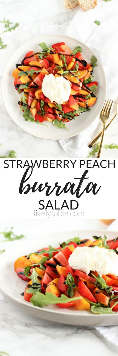 Use your sweet summer peaches and strawberries in this fresh and delicious strawberry peach burrata salad! It is a super easy summer salad that pairs perfectly with your favorite grilled dish. (vegetarian, gluten-free) | via livelytable.com | summer salads | summer sides