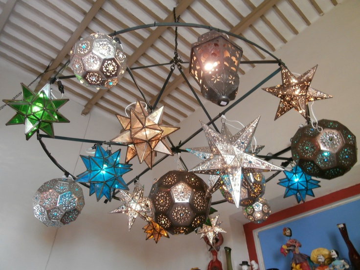 Glass Star Lamps And Punched Tin