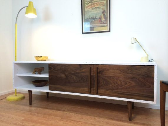 kasse tv stand with speckled finish walnut doors