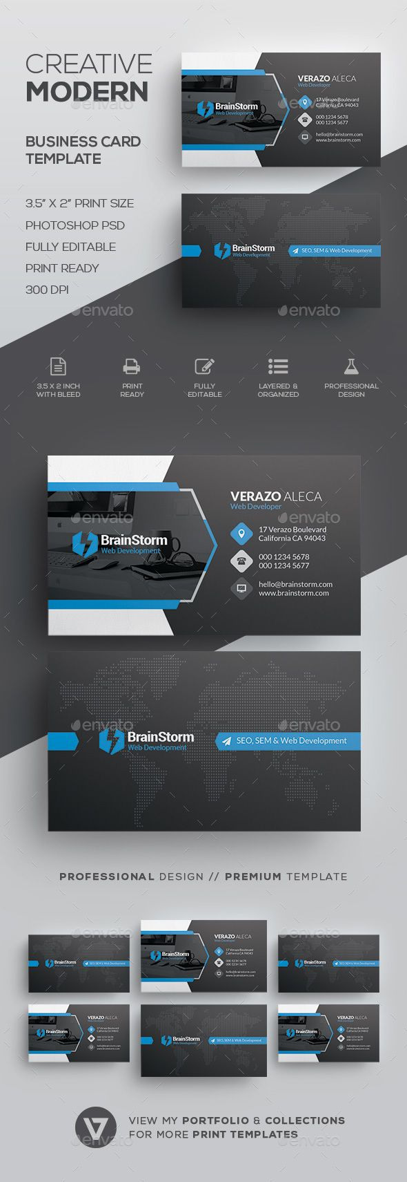 Modern Creative Business Card Template by verazo Need more high quality business card? View my Business Card Templates Collection OR Save Money! Buy Business Card Bundle for only