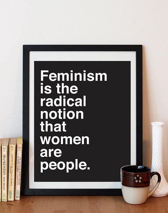 Feminism Print - Typography Print - Feminism quote - Feminist - black and white…