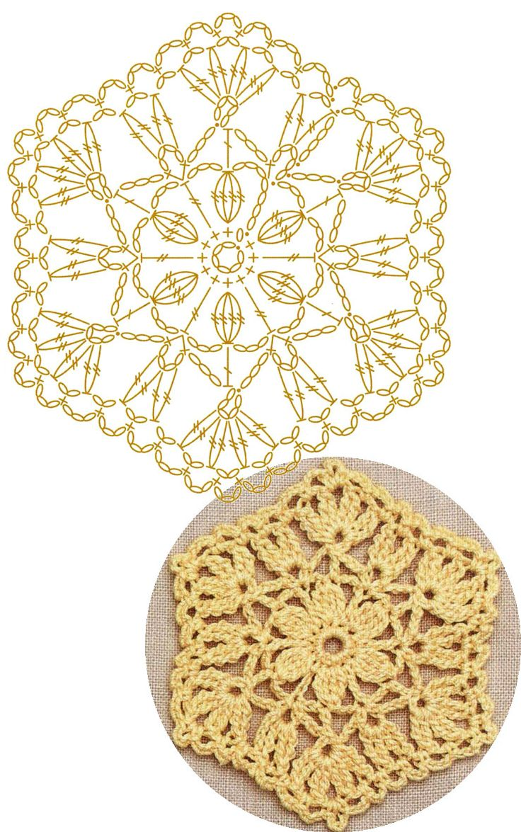 No.39 Flowering Hexagon Lace Crochet Motifs / 플라워 헥사곤 모티브도안