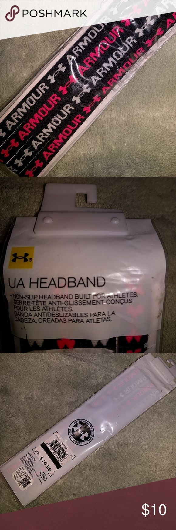 """NWT Under Armour Headbands Still in original Packaging, for sale is a set of 4 Under Armour headbands, 2 are black with white writing and 2 are black with pink writing. All have the Under Armour symbol on them. They are non-stop headbands """" built for Athletes"""" Under Armour Accessories Hair Accessories"""