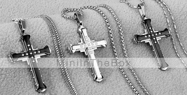 noir brillant / or / croix en argent cz strass collier pendentif en acier de titane mode homme de 2015 à €7.59