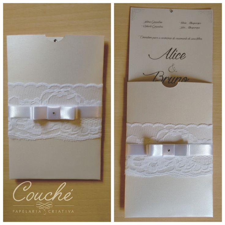 Convite de casamento com envelope em papel aspen 250g com renda e laço.  couchecriativa@gmail.com