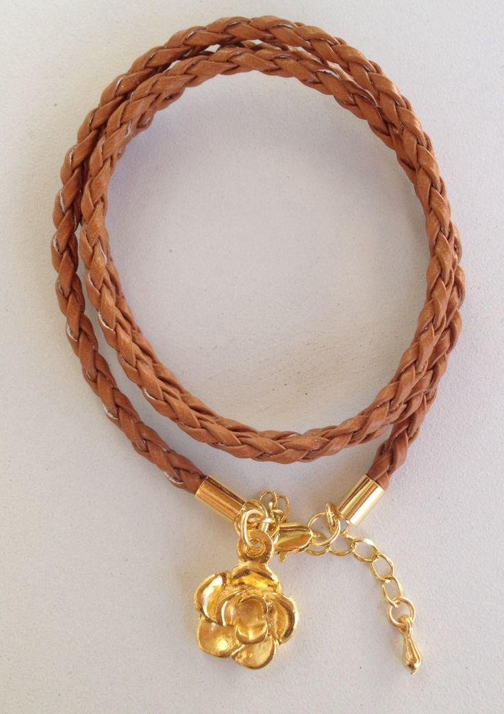 Brown leather bracelet pulseira de couro marrom