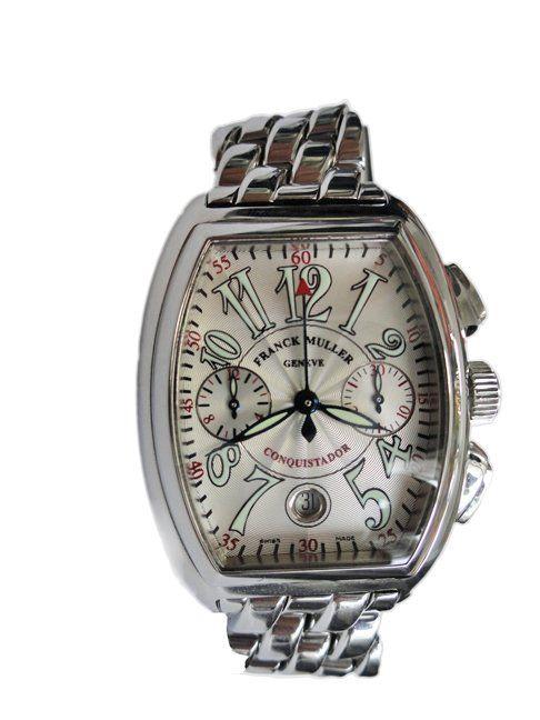 Stainless steel gents Franck Muller Conquistador chronograph wristwatch, ref. 8001c.    http://www.liveauctioneers.com/item/25627328_mens-stainless-steel-franck-muller-conquistador-watch