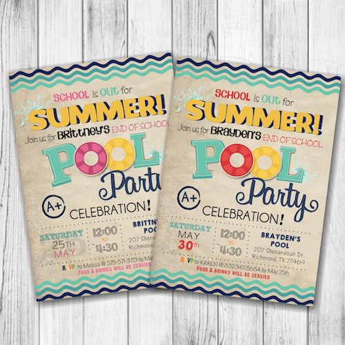 End of School Pool Party Invitation – Summer Pool Party Invitation – Girl Pool Party Invitation – Boy End of School Pool Party Invitation – Summer Party Invite –