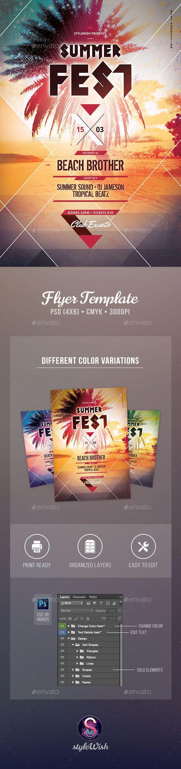 Summer Fest Flyer Tempalte #design Download: http://graphicriver.net/item/summer-fest-flyer/11210221?ref=ksioks