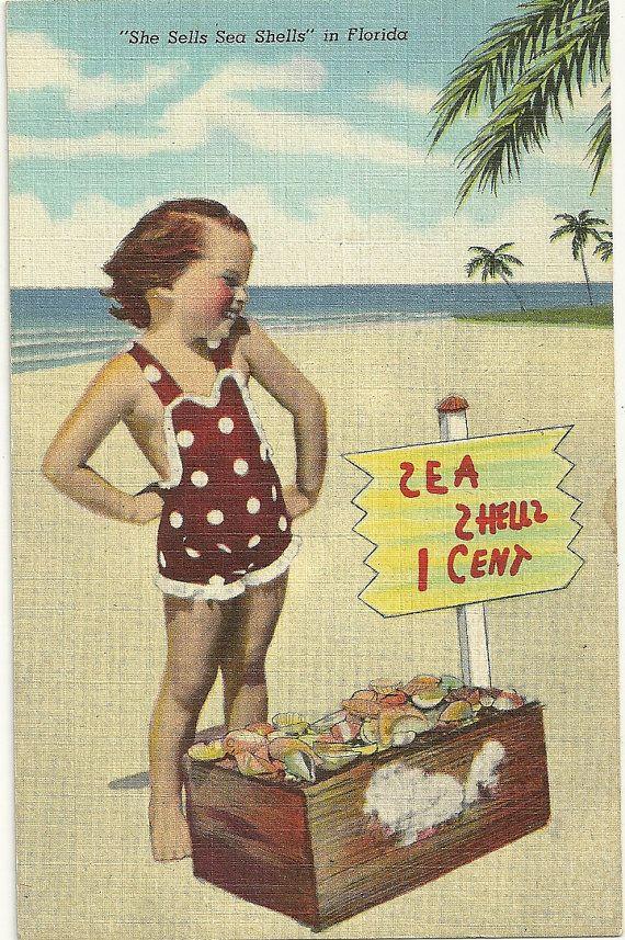 She Sells Sea Shells in Florida  Vintage