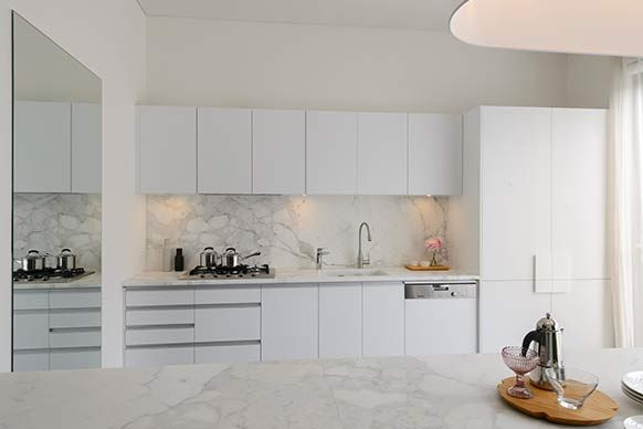 The Block All Stars: Room Reveal: Josh and Jenna's Kitchen - love the white with white marble
