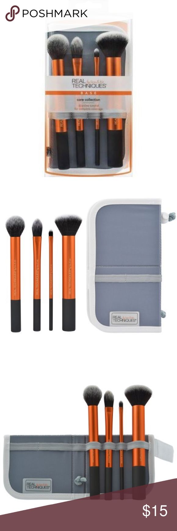 Real Techniques Brush Set Real Techniques (by Sam & Nic) Core Collection Makeup Brushes  Includes: - Contour brush - Pointed foundation brush - Detailed brush - Buffing brush - Panoramic case (dual carrier and stand) Real Techniques Makeup Brushes & Tools