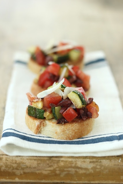 Jenny Steffens Hobick: Tomato, Zucchini and Olive Bruschetta | Fresh Summer Party Food