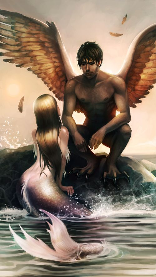 Angel and mermaid