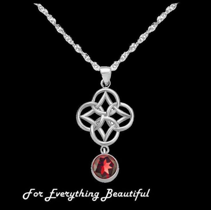 Red Garnet Endless Celtic Knotwork Sterling Silver Pendant