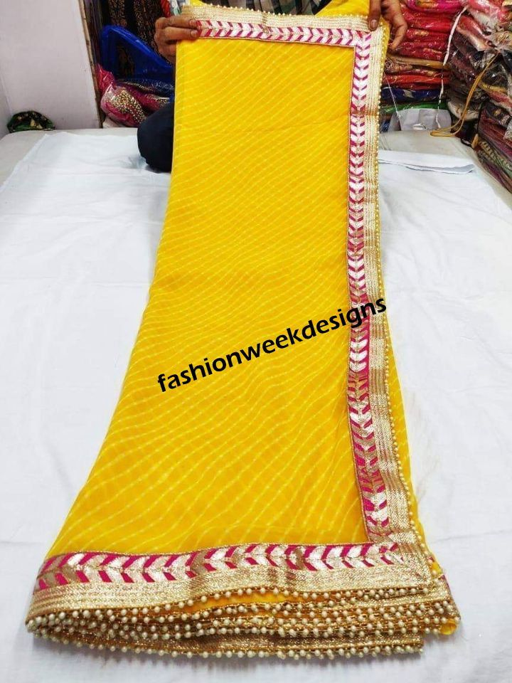 Wedding Saree for Women Mothda Leheriya Saree Traditional Indian Designer saree With Unstitched Blouse Piece Gotapetti Border Dresses