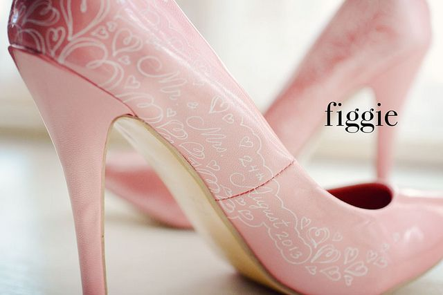 Hand-Painted Blush Pink and White Lace Hearts Wedding Shoes by Figgie | www.figgieshoes.com