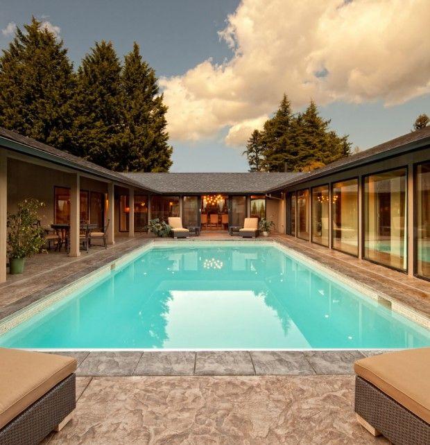 u shaped house plans single level - Google Search