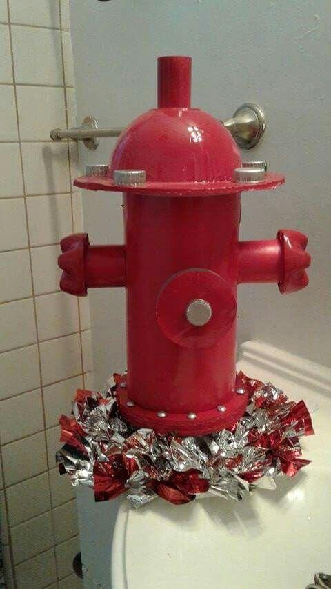 Fire Hydrant made out of oatmeal box ribbon spool sosa
