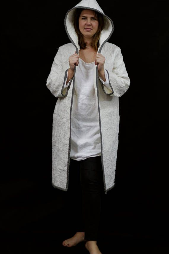 Linen Coat with Hood Hand Quilted With Silver Reflections.