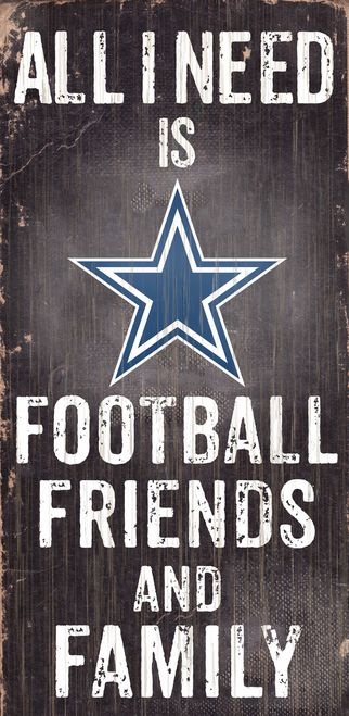 """Dallas Cowboys Wood Sign - Football Friends and Family - 6""""""""x12"""""""" Z157-7846008921"""