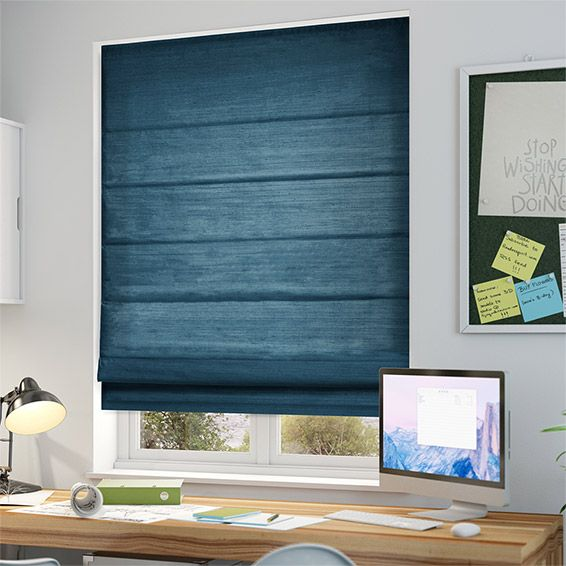 Dupioni Faux Silk Teal Roman Blind from Blinds 2go