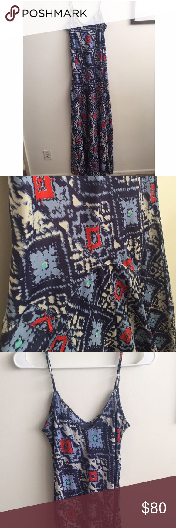 Flynn Skye long dress - semi formal Long rayon dress with an amazing print and super flattering. It has a gem that falls along upper thighs that magically slims the waist and accentuates the behind. Wore it to a wedding and baby shower - great as formal or informal wear! Flynn Skye Dresses Maxi