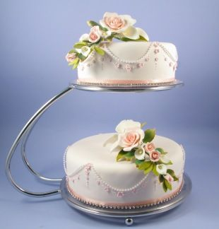 2 Tier C Shape Silver Chrome Cake Stand Hire Image 1