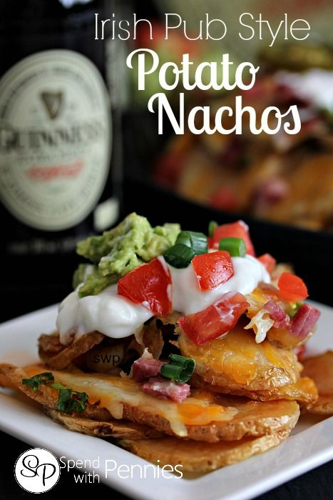 Irish Pub Style Potato Nachos!!  Delicious potatoes loaded with cheese and toppings!