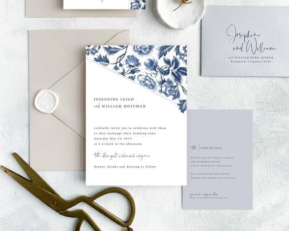 Blue Floral Wedding Invitation Suite Modern Blue And White Etsy In 2020 Wedding Invitation Templates Floral Wedding Invitations Floral Wedding Invitation Suite