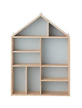 Süßes Wandregal: Der Setzkasten in Hausform im Inneren himmelblau, aussen natur, von Bloomingville. 49 EUR