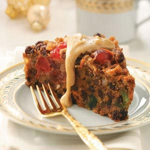 Christmas Pudding recipe.  Plenty of fruits with flavorful brandy sauce!