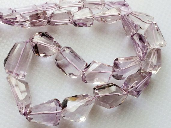 Pink Amethyst Beads Faceted Tumble Beads Step Cut by gemsforjewels