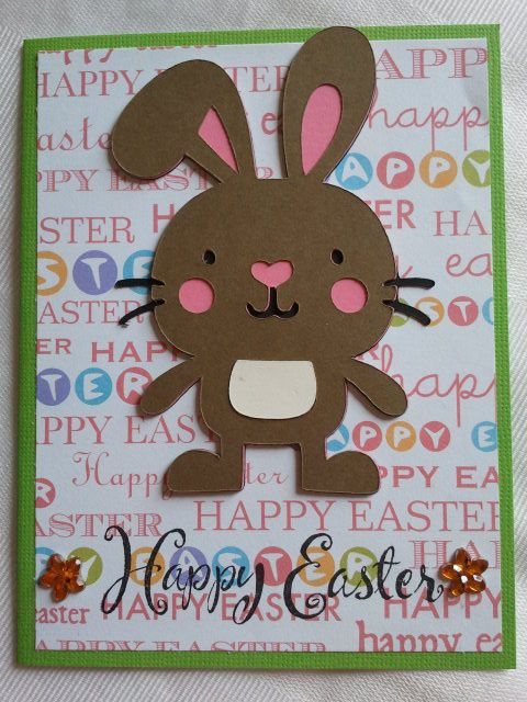 Create a Critter Easter Bunny card: Bunnies Cards, Cricut Cards, Crafts Cards, Books Cards, Easter Cards, Easter Bunnies, Cards Cricut, Crafty Cards, Cards Handmade