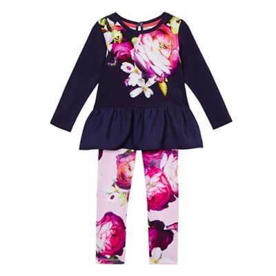 Baker by Ted Baker Girls' purple peplum top and trousers set | Debenhams